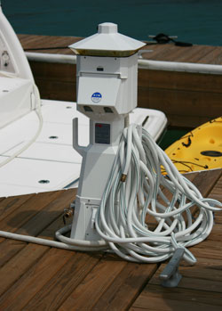 Example of installed dock power pedestal