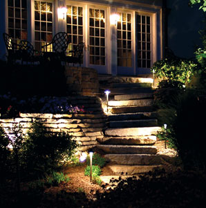 Outdoor lighting landscape and security paul foley electric multi tiered landscape lighting installation up stone stairs mozeypictures Image collections